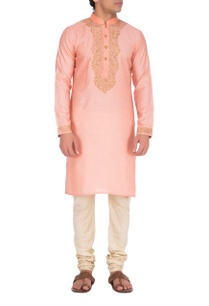 peach-gold-embroidered-kurta