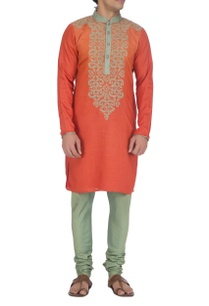 rust-orange-beige-embroidered-kurta