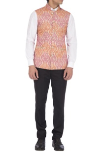 pink-orange-embroidered-nehru-jacket