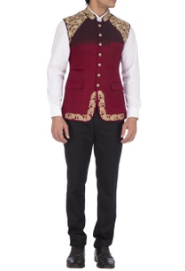 dark-maroon-embroidered-nehru-jacket