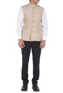 beige-yellow-textured-nehru-jacket