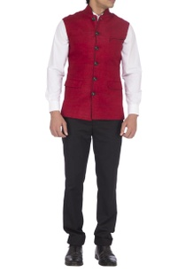 deep-red-black-textured-nehru-jacket