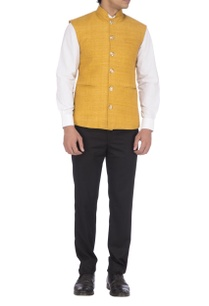 yellow-textured-nehru-jacket