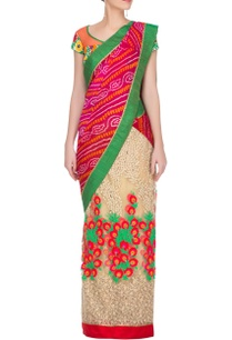 red-bandhej-and-embroidered-sari