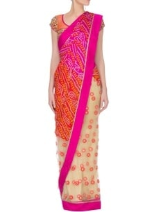 pink-orange-bandhej-embroidered-sari