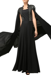 black-embroidered-cape-gown