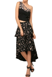 black-embroidered-one-shouldered-top-skirt-set