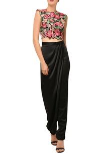 black-floral-embellished-cropped-top