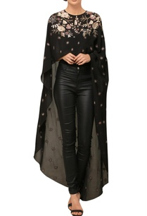 black-embroidered-high-low-cape
