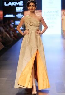 beige-crushed-yoke-one-shouldered-dress
