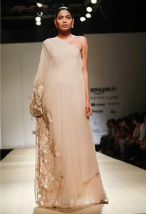 apricot-floral-embellished-one-shoulder-gown