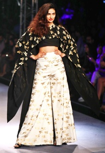 black-white-printed-cape-bustier-sharara-pants
