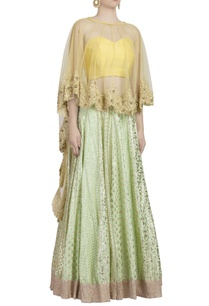 mint-green-lehenga-set-with-golden-embroidered-cape
