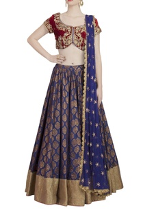 red-midnight-blue-pearl-embellished-lehenga-set