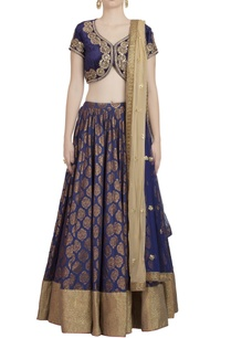 midnight-blue-lehenga-set-with-golden-embellished-dupatta