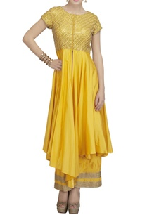 yellow-gold-front-open-slit-kurta-set