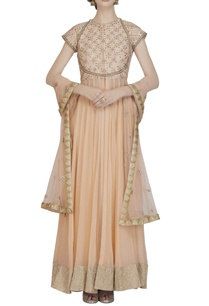 peach-embroidered-front-slit-anarkali-set