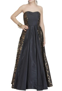 black-brocade-paneled-strapless-gown