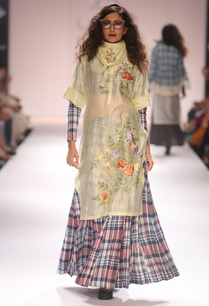 light-yellow-embroidered-tunic-chequered-skirt-with-blouse
