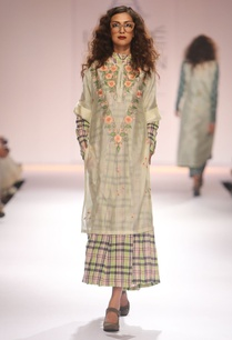 light-yellow-embroidered-tunic-with-green-pink-chequered-anarkali