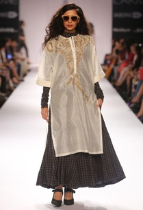 black-chequered-anarkali-ivory-embroidered-tunic