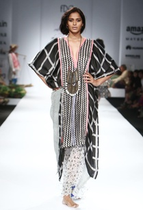 black-white-pink-asymmetrical-kaftan-palazzo-pants