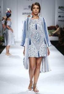white-blue-printed-tassel-embellished-dress-with-jacket