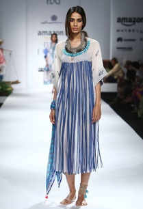 white-blue-printed-tassel-embellished-dress