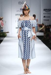 blue-white-printed-off-shouldered-dress-with-belt