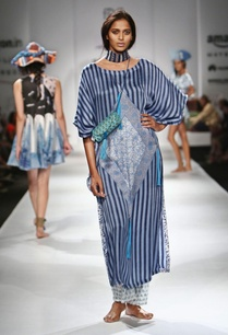 blue-striped-motif-printed-kaftan-sheer-pants