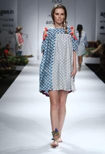 blue-white-orange-printed-cold-shouldered-dress