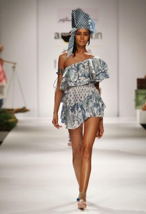 blue-white-printed-one-shouldered-dress