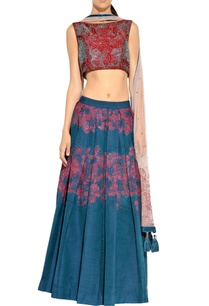 blue-maroon-lehenga-set-with-pleated-details