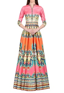 flamingo-pink-coral-orange-floral-printed-anarkali
