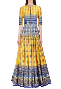 bright-yellow-blue-floral-printed-anarkali
