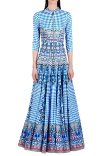cyan-blue-white-floral-printed-anarkali