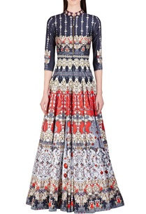 deep-blue-rose-red-floral-printed-anarkali