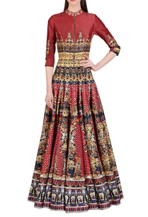 brick-red-floral-printed-anarkali