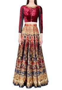 marsala-blue-printed-skirt