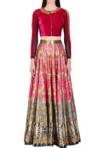 deep-red-gold-embroidered-crop-top