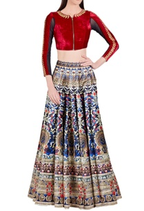 deep-blue-gold-printed-skirt