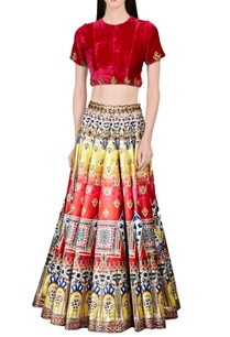 yellow-red-blue-printed-skirt