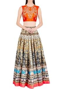 black-gold-lotus-printed-skirt