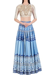 blue-persian-floral-printed-skirt