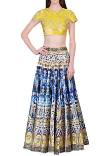 blue-printed-skirt