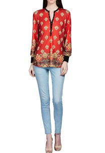 red-baroque-printed-top
