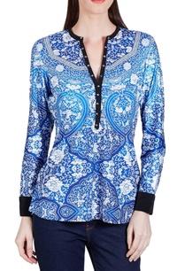 bright-blue-floral-printed-top