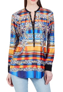 tangerine-orange-blue-jewel-printed-top