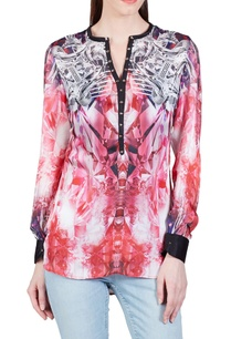 light-pink-grey-geometric-printed-top