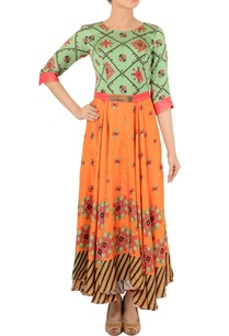 fern-green-orange-motif-printed-dress